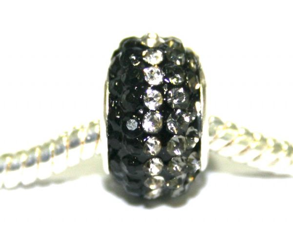 Black clear 12mm x 8mm Pave crystal bead with 5mm hole PD-S-12- 37